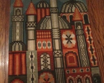 Lovely Needlework Wall Hanging Russia Onion Dome Cathrdral St Basil Moscow