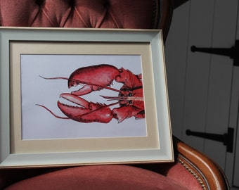 Watercolour & Ink Pen LOBSTER Print A4 By VMS (From Original Artwork)