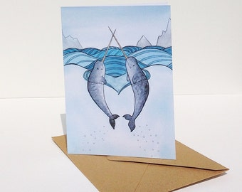 Narwhal Card Narwhals in Love Art card - from original watercolor painting - narwhal greeting card - valentines day card