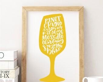 White Wine Illustration Print