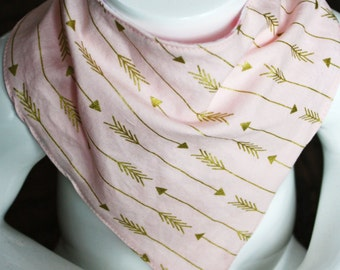 Pink Bandana Bib.  Pink Bib with Gold Arrows. SALE. FREE SHIPPING on all additional bibs purchased.