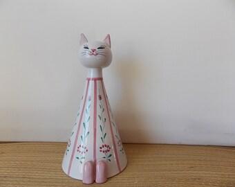 Vintage Italian Cat Bank Tall Mid Century Modern Ceramic Kitty Figurine with Flowers