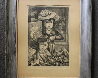 Jean Calogero Original Vintage Antique Italian American Dreamlike Modern Surreal Graphite Pencil Art Drawing