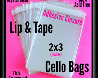 100 ( 2x3 ) Lip & Tape Cello Bags ..  Clear Bags, Self Sealing, Small Cello Bags, Adhesive Cello Bags, Adhesive 2x3 Bags