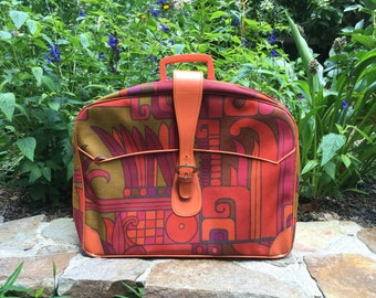 Fab MCM Soft Sided Suitcase, Orange Magenta Green, Pop Art Graphics, Amazing Relic of the 1960s, Prop Display Gift, Storage, Overnight Bag