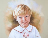 Pastel portrait of a boy. Head and shoulders portrait