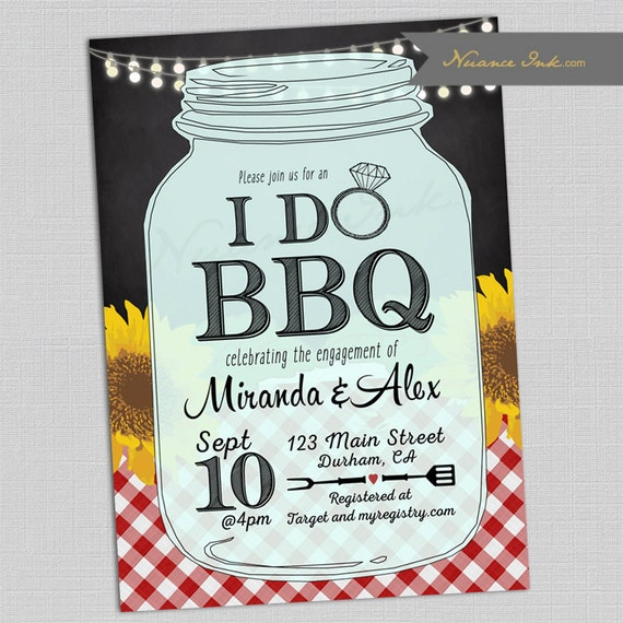 I Do BBQ Engagement Party Invitation, birthday, baby shower, wedding shower, barbecue, barbeque, sunflowers, picnic, chalkboard