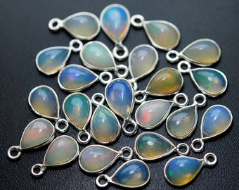 925 Sterling Silver, Ethiopian Opal Pear Connector,5 Piece of 11mm