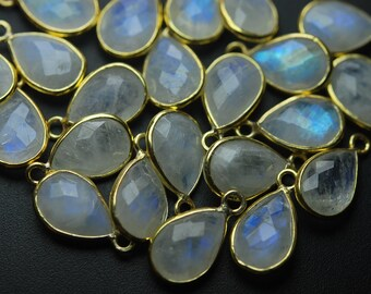 925 Sterling Silver Vermeil,Rainbow Moonstone Faceted Pear Shape Pendant,10 Piece of 18mm
