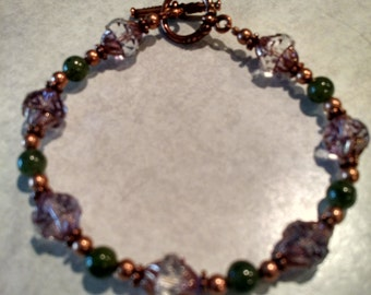 Canadian Jade and Czech glass bracelet