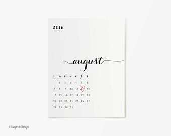 Pregnancy Announcement Calendar PRINTABLE with Heart - CUSTOM