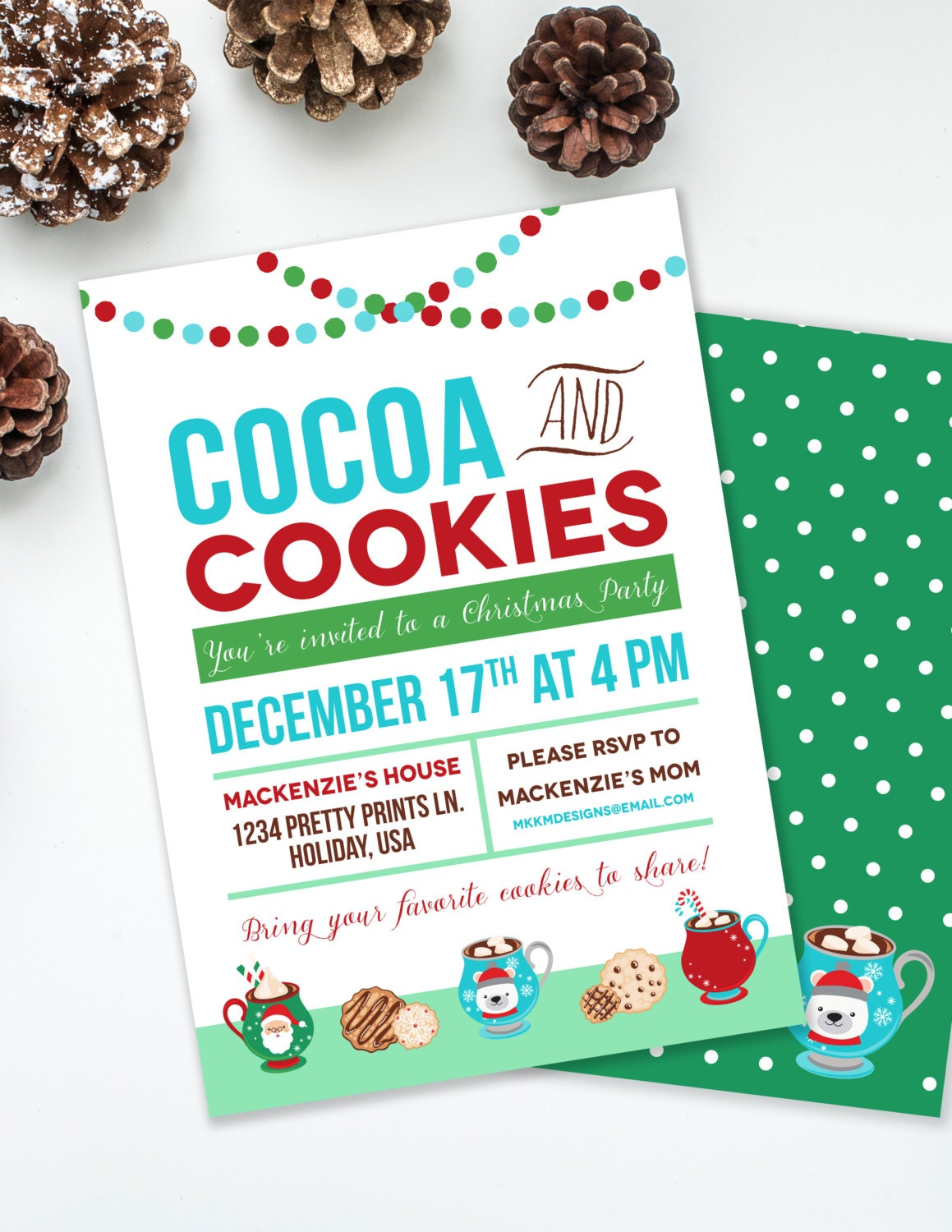 Kids Holiday Party Cocoa and Cookies Christmas Party