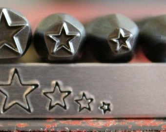 Advantage Series Star 4 Stamp Combination Set- Metal Design Stamp - 7mm 5mm 3mm 2mm- Made for use on Stainless Steel- SGAD-4