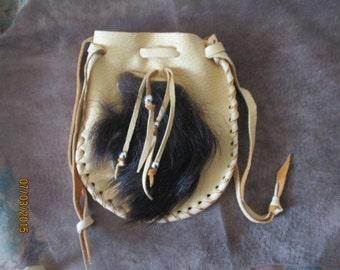 Handmade Buckskin Leather and Genuine Buffalo Fur Belt Bag Pouch Silver Beads, Drawstring top
