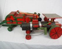 Folk Art antique wood Threshing machine and steam Tractor farm equipment toy collectible