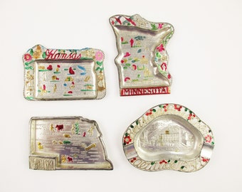 Your Choice - Souvenir State Ashtrays  - Trays From the '40s - 'Kansas' - 'Nebraska' - 'Minnesota' - 'Berthoud Pass Colo' - Made in Japan