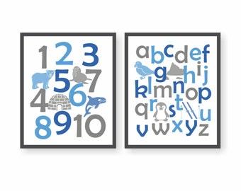 Arctic Animal Alphabet Art - CHOOSE COLORS - Antarctica, Polar Bear Nursery, Number Art, ABC Wall Print, Toddler Art, Winter Animal Art