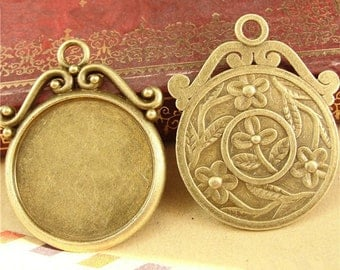 12pcs Antique bronze Round Blanks Bezel 25mm Setting cabochon Pendant Trays findings