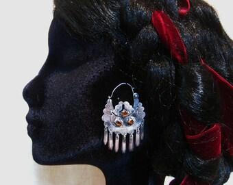Vintage Mexican Silver Hoop Earrings Frida Kahlo Paloma Earrings