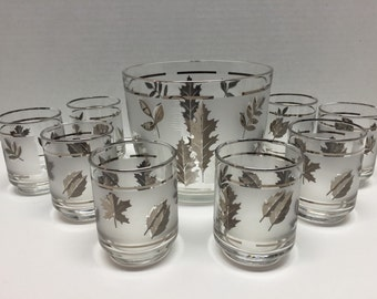 Mid Century Set of 8 Glasses + 1 Glass Ice Bucket with Silver Leaf Motif by Libbey