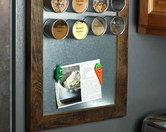 Magnetic Board, Rustic Magnetic Spice Rack, Small Framed Magnetic Board