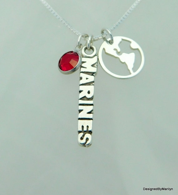 Sterling silver marine necklace, military jewelry, sterling silver jewelry, proud mom necklace, girlfriend jewelry, wife jewelry