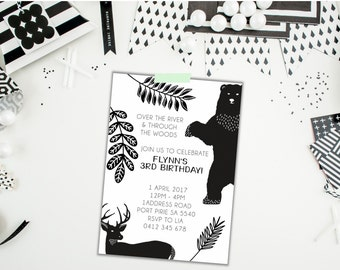 Woodlands Birthday Invite. Monochrome Invitation. Birthday Invite. Monochrome Birthday Invitation. Tribal Invitation. Printable. Bear.