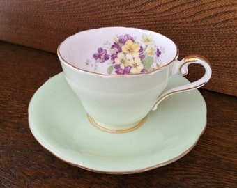 1930's AYNSLEY TEACUP - Mint green with Purple & Yellow Violets