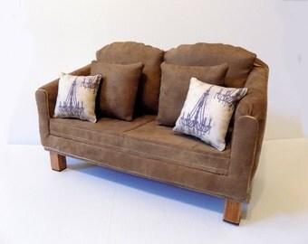 American Girl Doll Ultra Suede Mod Sofa
