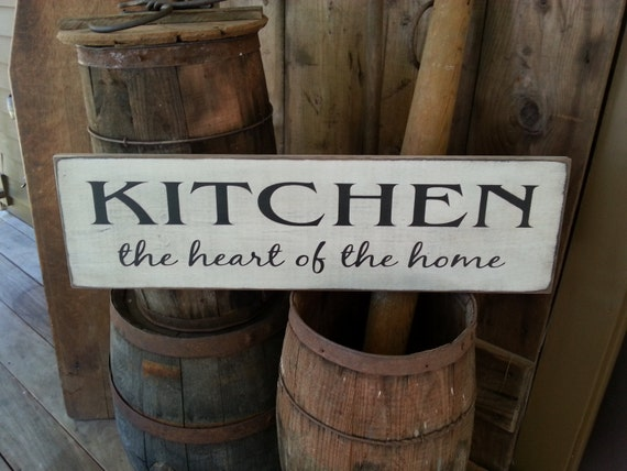 kitchen the heart of the home wood sign farmhouse decor. Black Bedroom Furniture Sets. Home Design Ideas