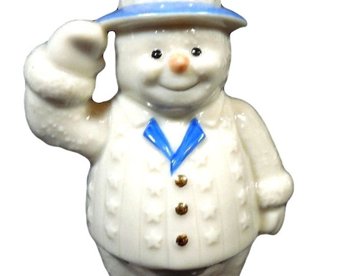 Lenox Snowy Patriot, Snowman With Red White and Blue Top Hat, Saluting Patriotic Figurine, Gift For Christmas