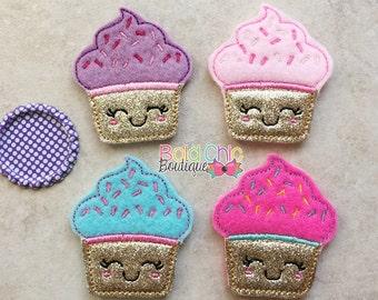 UNCUT - Cutie cupcake FELTIE - Ready to ship - Set of 2 untrimmed felties