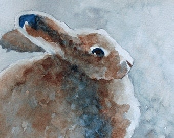For her Easter decor brown bunny painting rabbit wall hanging BUNNY ART PRINT of bunny  decor woodland nursery bunny painting watercolor 5x5