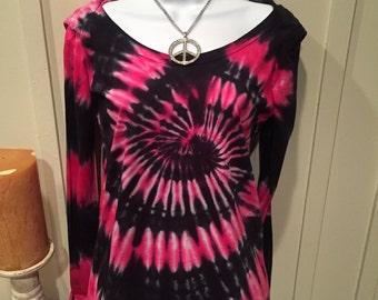 "Tye dye tshirt hoodie, ""modern chick hoodie"", black and hot pink tye dye shirt, cotton jersey long sleeve tshirt"