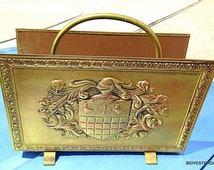 PEERAGE Magazine Rack Coat of Arms Medieval Knight, crest and shield decoration