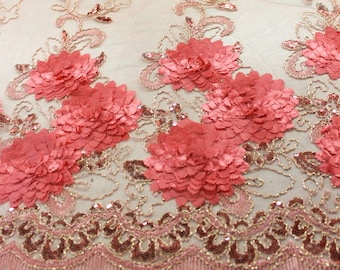Elegant Coral Embroidered Lace With Flower Sequins With Scalloped Edge Embroidered Lace Fabric- 1 Yard Style 2868