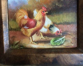 French Country Ornate Framed Miniature Oil Painting Hen and Rooster