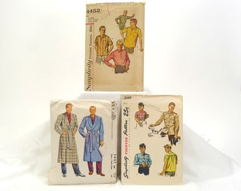 1950s Men's Sewing Patterns - McCalls 5465 - Simplicity 2049 - Simplicity 4452 - Vintage Men's Fashion - Robes & Shirts - Retro Style