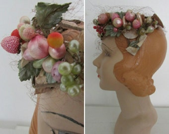1950s fascinator | vintage fascinator | |vintage hat | size fits most | Fruitful Harvest Fascinator