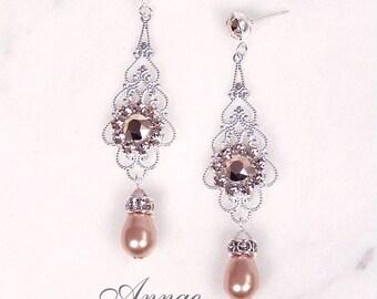 "Rose Gold & silver bridal earrings, wedding jewelry, Rose gold pearl and blush pink rhinestone earrings, Swarovski, ""Princess"" earrings"