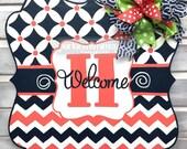 Spring Door Hanger: Monogrammed Welcome Sign Home Decor Porch Decor Door Decor Housewarming Gift Mother's Day Gift