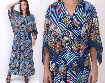 70's Blue Ethnic Tribal Print Cotton Angel Sleeves Sheer Empire Waist Vintage Boho Hippie Maxi Dress XS/S