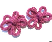 Two Raspberry Pink French Knitted Flower Hair Grips