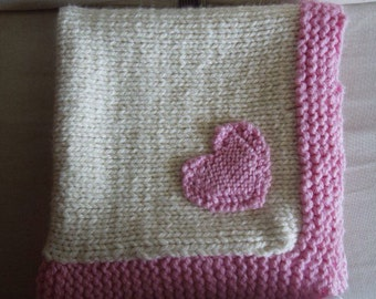Knit Baby Blanket, Pink and Ivory with Heart