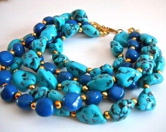 Massive Faux Turquoise Lapis Necklace, PAOLO BELLINI, 5 Multi Strand, Runway, Vintage