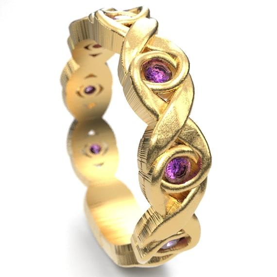 Celtic Amethyst Wedding Ring Infinity Knot Design in 10K 14K 18K Gold, Palladium or Platinum, Amethyst Celtic Knot Ring, Custom Size 1107