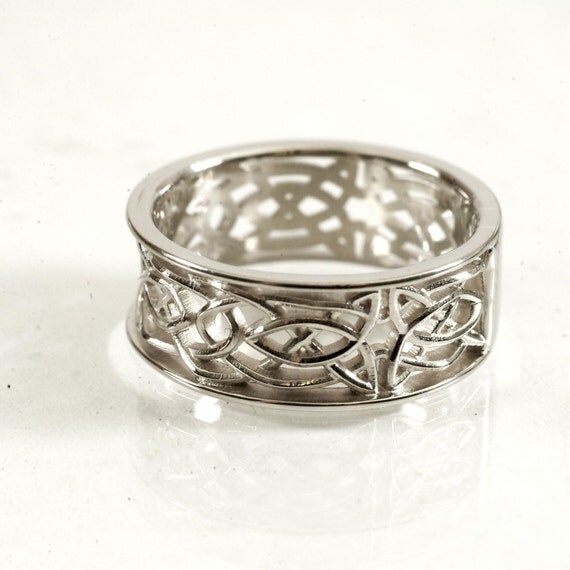 Celtic Wedding Ring With Open Cut-Through Knotwork Design in 14K Gold, Made in Your Size CR-112