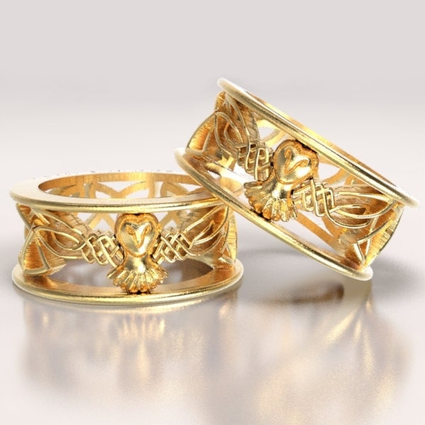 Celtic Gold Owl Wedding Ring Set With Cut-Through Woven Dara