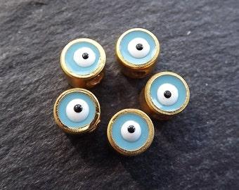 5 Mini 5mm Sky Blue Lucky Evil Eye - 22k Matte Gold Plated
