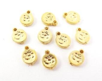 10 Mini OM Symbol Charms - Rustic cast - 22k Matte Gold Plated Brass - Yoga Aum